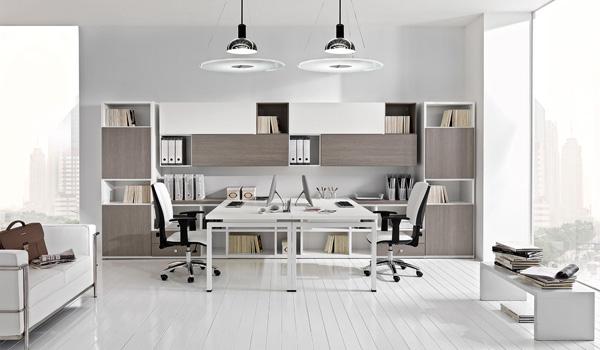 Brazzorotto arredamento per l'ufficio: scrivania a doppia postazione con libreria e porta documenti