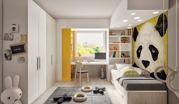 camere da letto per bambini con postazione di lavoro, tavolo e armadio