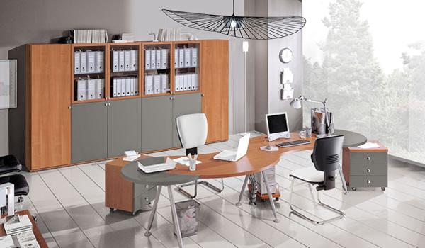 Set da ufficio comleto: scivania a due postazioni ftontali:, armadio con ante e scaffali per archiviare documenti